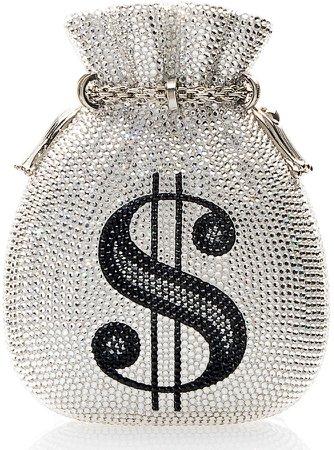 Money Bags Crystal Embellished Clutch