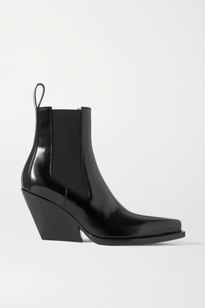 Glossed-leather Ankle Boots - Black
