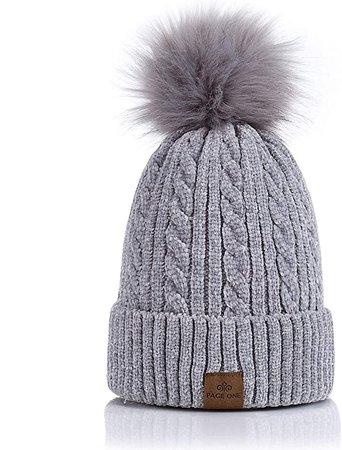 PAGE ONE Women Winter Pom Pom Beanie Hats Warm Fleece Lined, Chunky Trendy Cute Chenille Knit Twist Cap at Amazon Women's Clothing store