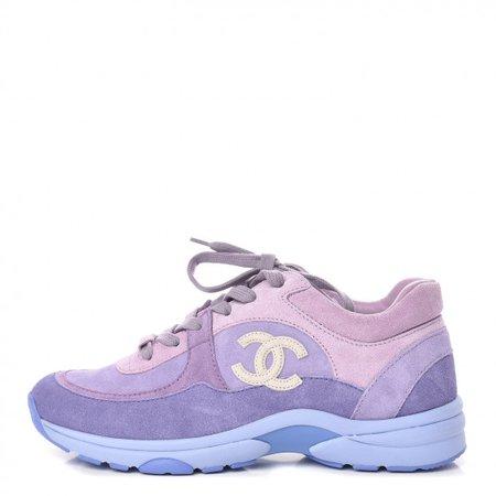 CHANEL Nylon Calfskin Suede CC Womens Sneakers 37 Purple 448154