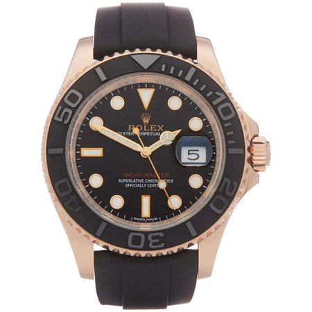 Rolex Yacht-Master 40 116655 Men's Rose Gold Oysterflex Watch For Sale at 1stDibs