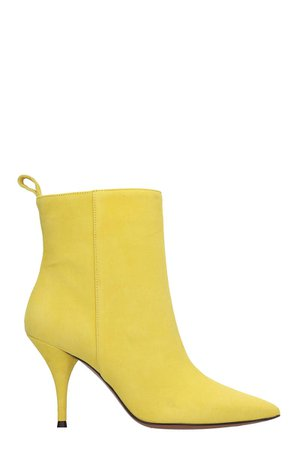LAutre Chose High Heels Ankle Boots In Yellow Suede