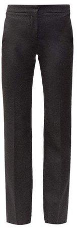Men's Cut Straight Leg Wool Trousers - Womens - Grey