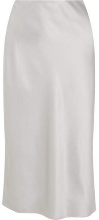 Frances Silk-satin Midi Skirt - Gray