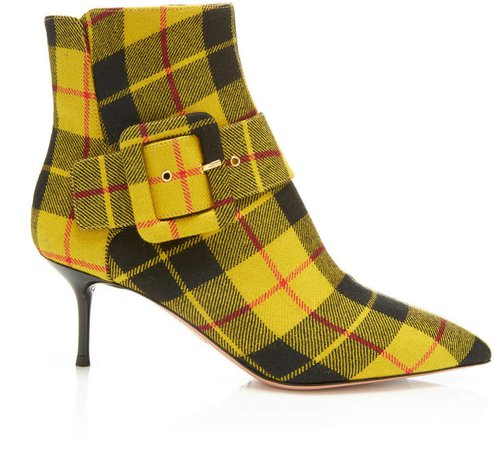 Bailey Buckled Checked Twill Ankle Boots