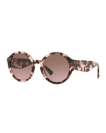 Valentino Round Rockstud Acetate Sunglasses | Neiman Marcus