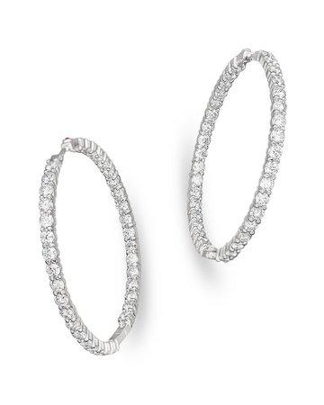Roberto Coin 18K White Gold Large Diamond Inside Out Hoop Earrings | Bloomingdale's