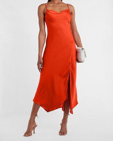 Satin Cowl Neck Maxi Slip Dress