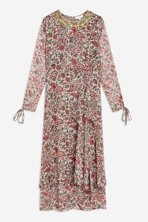 Paisley Embroidered Midi Dress | Topshop