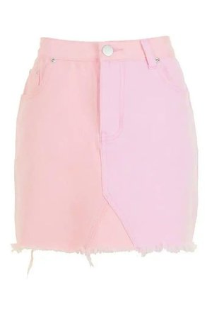 Patchwork Pink Denim Mini Skirt