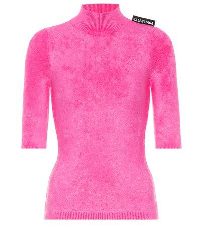 Balenciaga - Velvet-jersey top | Mytheresa