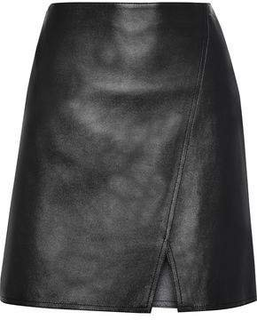 Estelle Wrap-effect Leather Mini Skirt