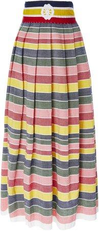 Santa Clara Rainbow Stripe Cotton-Poplin Midi Skirt