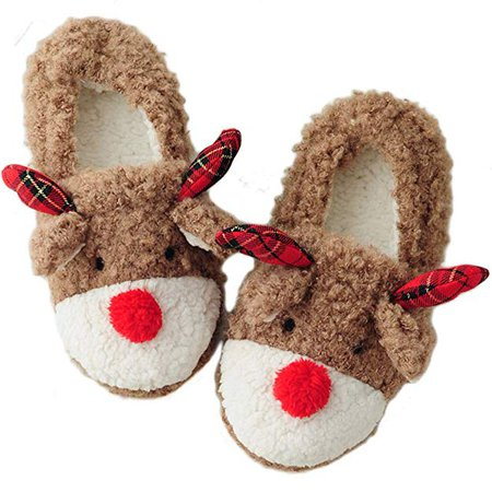 Women's Christmas Cute Animal Bedroom House Slippers | Slippers