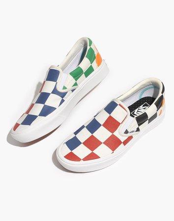 Vans Unisex Classic Slip-On Sneakers in Big Checkerboard Canvas