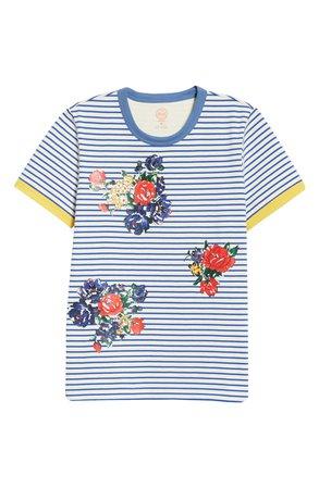 Tory Burch Stripe Floral T-Shirt blue