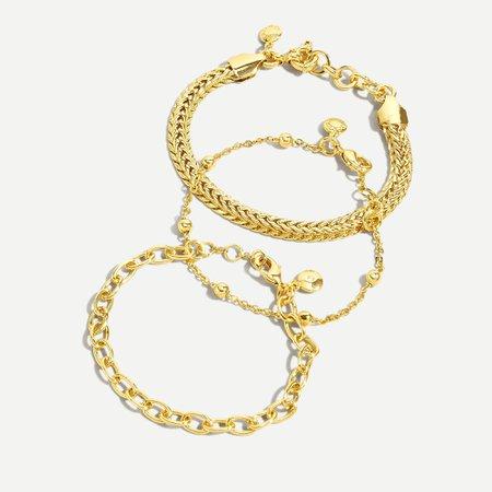 J.Crew: Herringbone Gold Chain Bracelet Set For Women
