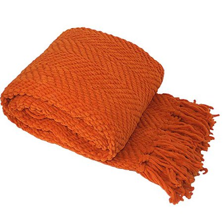 Amazon.com: Home Soft Things Knitted Tweed Throw Couch Cover Blanket, 50 x 60, Burnt Orange: Home & Kitchen