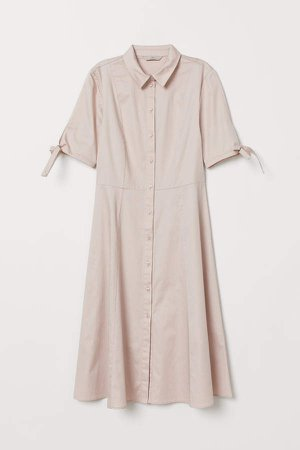 Cotton Satin Shirt Dress - Pink