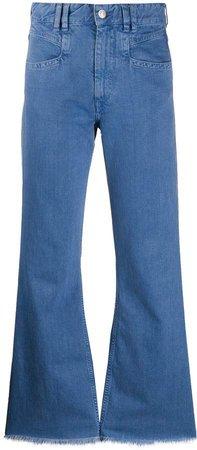 high-rise flared frayed-hem jeans
