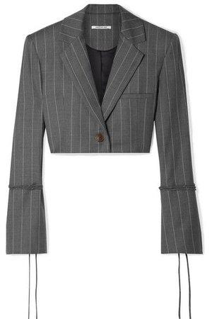 Orseund Iris - Box Cropped Pinstriped Wool-blend Blazer - Gray