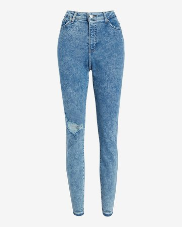 High Waisted Marbled Ripped Raw Hem Curvy Skinny Jeans