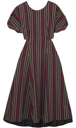 Flared Cutout Striped Cotton-blend Midi Dress