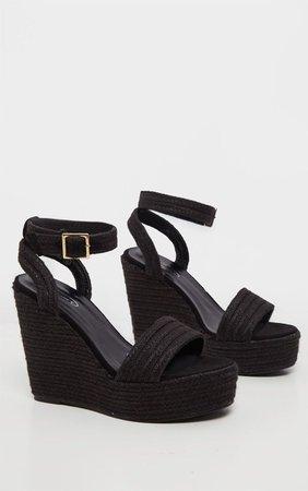 Black Espadrille Wedge Sandal   PrettyLittleThing