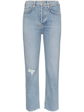 Re/done Stove Distressed Straight-Leg Jeans 1903WSTV27 Blue | Farfetch