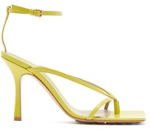 Square-toe Leather Sandals - Green