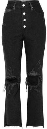 Leather-paneled Distressed High-rise Flared Jeans