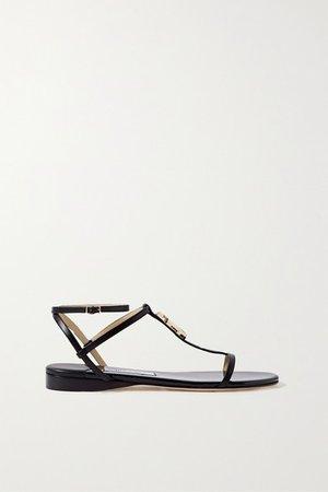 Alodie Logo-embellished Leather Sandals - Black