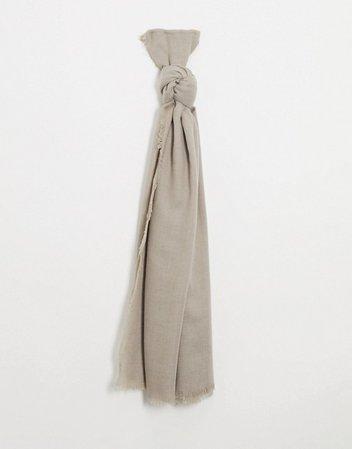 ASOS DESIGN lightweight scarf with raw edge in camel | ASOS
