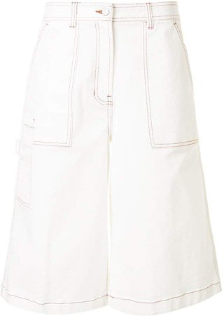 Stitch Detail Wide-Leg Shorts