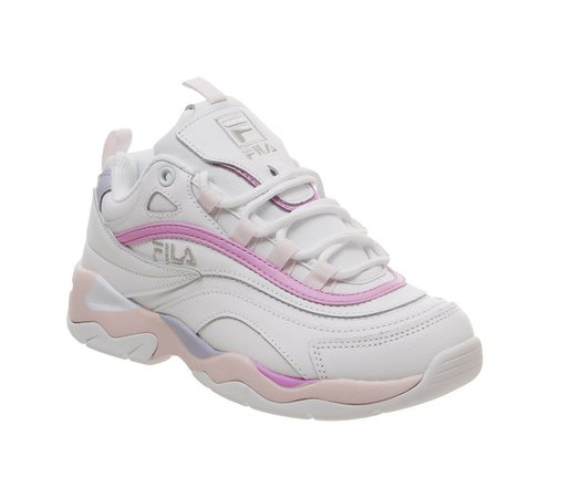 Womens Fila Fila Ray Trainers White Heavenly Pink Purple Trainers Shoes | eBay