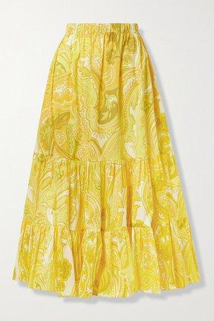 Tiered Paisley-print Cotton-blend Poplin Maxi Skirt - Yellow