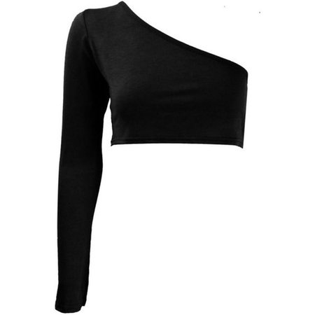Asymmetric One Long Sleeved Crop Top
