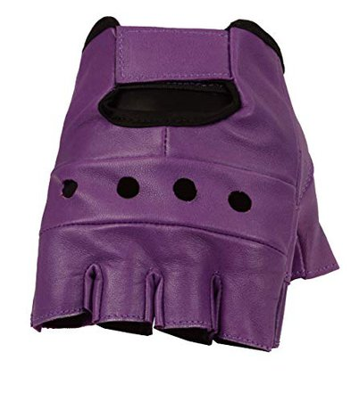 The Bikers Zone Women's Leather Fingerless Gloves, Soft Lambskin Leather (Purple, S) | WantItAll