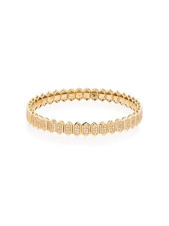 SHAY 18kt yellow gold hexagon pavé diamond bracelet - FARFETCH