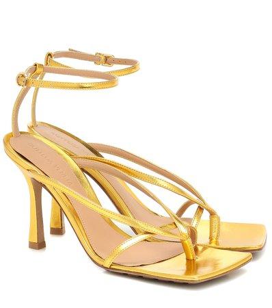 Bottega Veneta - Metallic leather sandals | Mytheresa