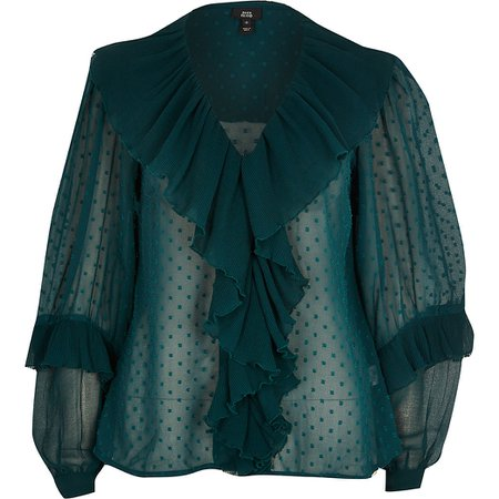 dark Green long sleeve ruffle blouse | River Island