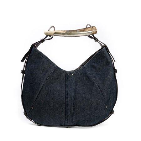 Dark Blue Denim Mombasa Horn Bag