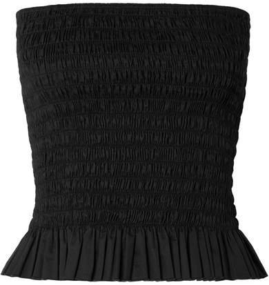 Shirred Cotton-poplin Bustier Top - Black