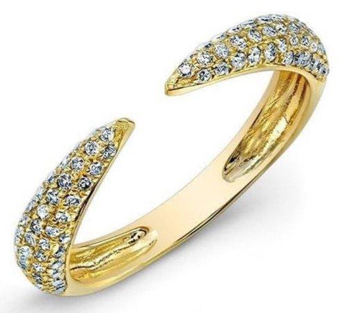 YELLOW GOLD DIAMOND HORN RING