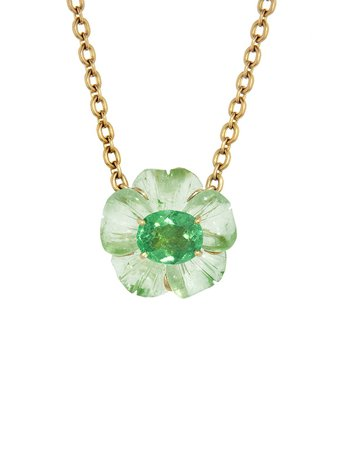 Irene Neuwirth Jewelry - One-Of-A-Kind Green Tourmaline Carved Flower Necklace - Yellow Gold - Ylang 23