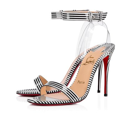 Jonatina 100 Black-White Patent Stripes - Women Shoes - Christian Louboutin