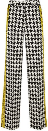 Appliquéd Houndstooth Wool-blend Wide-leg Pants - Black
