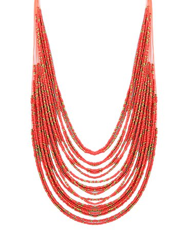 Red Multilayers Long Beads Necklace