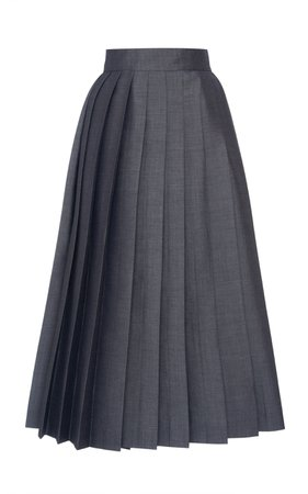 Prada Pleated Tie Back Mohair Wool Midi Skirt Size: 48
