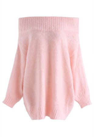 Recording Dreams Off-Shoulder Longline Sweater in Pink - Retro, Indie and Unique Fashion